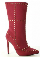 Studded Mid Calf High Heel Zip Up Boots